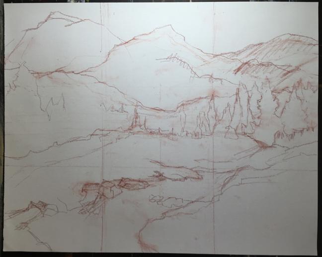 Yosemite, Elizabeth Lake Stream sketch