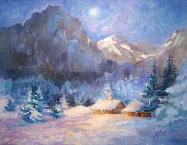 Yosemite Snowy Night Original Oil Painting by Jeri McDonald